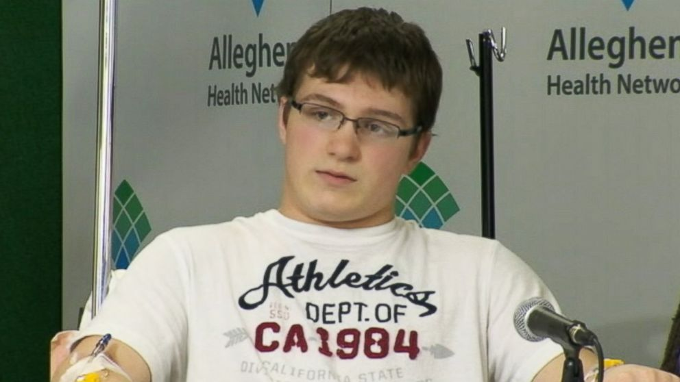 PHOTO: Brett Hurt, seen at a press conference on April 10, 2014, was injured during a stabbing spree at a Pennsylvania high school on April 9, 2014.