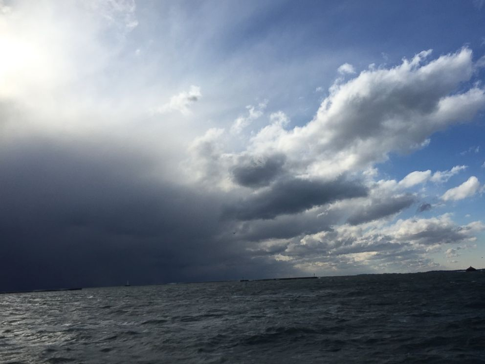 PHOTO: Clouds over Lake Ontario, Nov. 18, 2014. Buffalo is being hit by a large amount of lake effect snow.