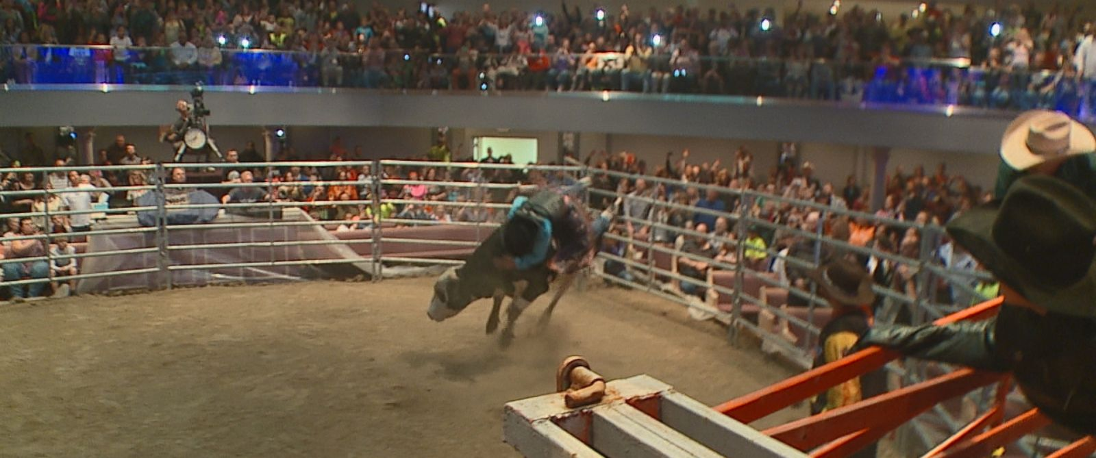 Pastor Lawrence Bishop II rode a bull in front of his congregation at the Solid Rock Church in Monroe, Ohio.