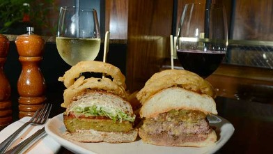 PHOTO: Burger and Barrel Winepub's Veggie burger and Smash burger are served with one of their signature wines, July 25, 2012, New York City.
