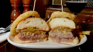 PHOTO: Burger and Barrel Winepub's Smash burger is served with one of their signature red wines, July 25, 2012, New York City.