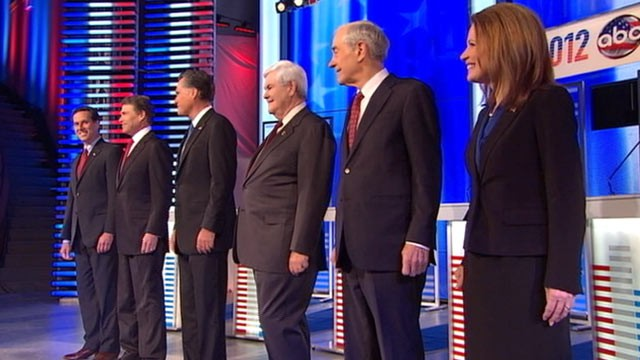PHOTO: Republican presidential candidates stand together prior to their Republican debate, Dec. 10, 2011, in Des Moines, Iowa.