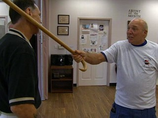 Elderly Fight Back With Cane Fu