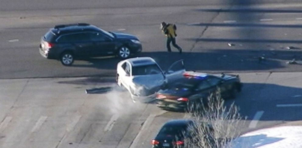 PHOTO: A carjacker in Colorado lead police officers on an hour-long chase involving at least 3 other vehicles before he was apprehended on March 12, 2014.