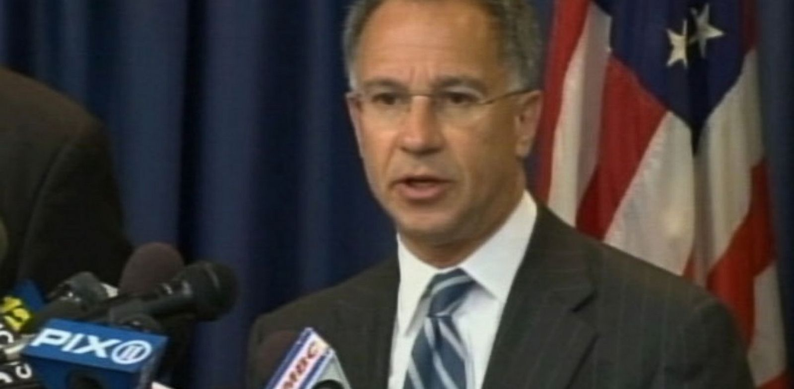PHOTO: US Attorney Paul Fishman at a press conference on July 25, 2013 in Newark, New Jersey discussing the indictment of 4 Russians and 1 Ukranian in the largest breach of data in history.
