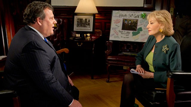"PHOTO: New Jersey governor Chris Christie talks with Barbara Walters during ""Barbara Walters Presents: The 10 Most Fascinating People of 2012"" which airs Dec. 12, 2012."