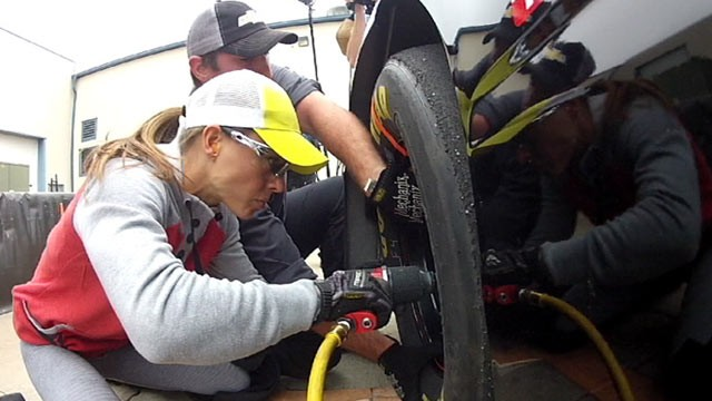 PHOTO: Christmas Abbott muscled her way into the world of NASCAR to become the first female pit crew member.