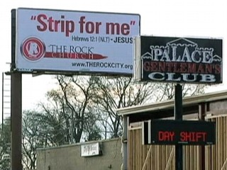 Church Raises 'Strip for Me' Billboard Over Men's Club