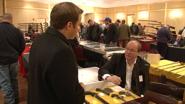 PHOTO: Other area gun shows have been canceled in the wake of the Connecticut shooting rampage, but not an antique gun show in Stamford, Connecticut, Saturday, Jan. 5, 2013.