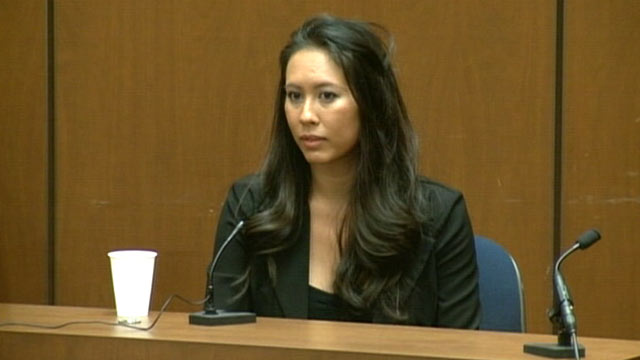 PHOTO: Michelle Bella testifies during Dr. Conrad Murray's trial in the death of pop star Michael Jackson in Los Angeles, Oct. 4, 2011.