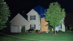 PHOTO: Police captain Mark Anderko's firebombed home.