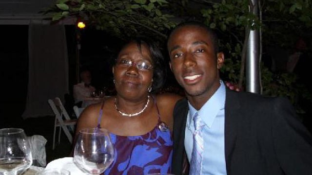 PHOTO:&nbsp;Marie Lourdes Andre and her son George Desdunes, who had been a member of the former Sigma Alpha Epislon chapter at Cornell University. Desdunes died in February from alcohol poisoning.