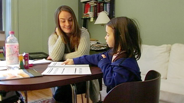 PHOTO: Sasha Barnett, left, tutors Elaina Berman for the exam that determines eligibility for New York Citys Gifted & Talented kindergarten program.