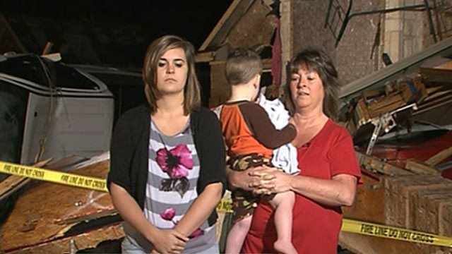 PHOTO: A Texas grandmother explains how she piled three children into a bathtub and hung on to a toddlers feet as the twister tried to suck the boy into its vortex.