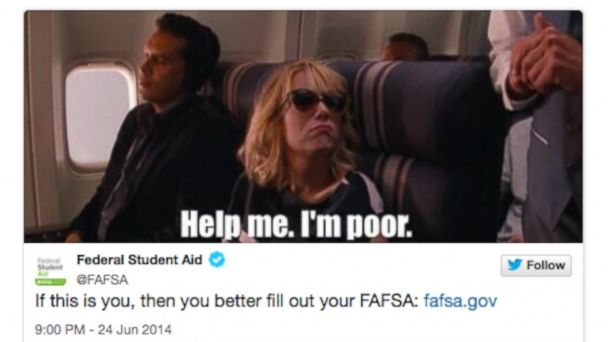 abc fafsa tweet 140624 16x9 608 Federal College Financial Aid Tweet Offends Some