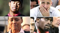 PHOTO Tiger Woods, Andre Agassi, Marion Jones, and Michael Vick are shown in these file photos.