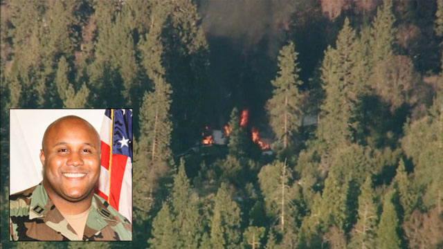 PHOTO: Flames from a fire in a cabin in Big Bear, Calif. can be seen in this overhead photo; ex-LAPD officer and fugitive Christopher Dorner is believed to have taken refuge in the cabin during