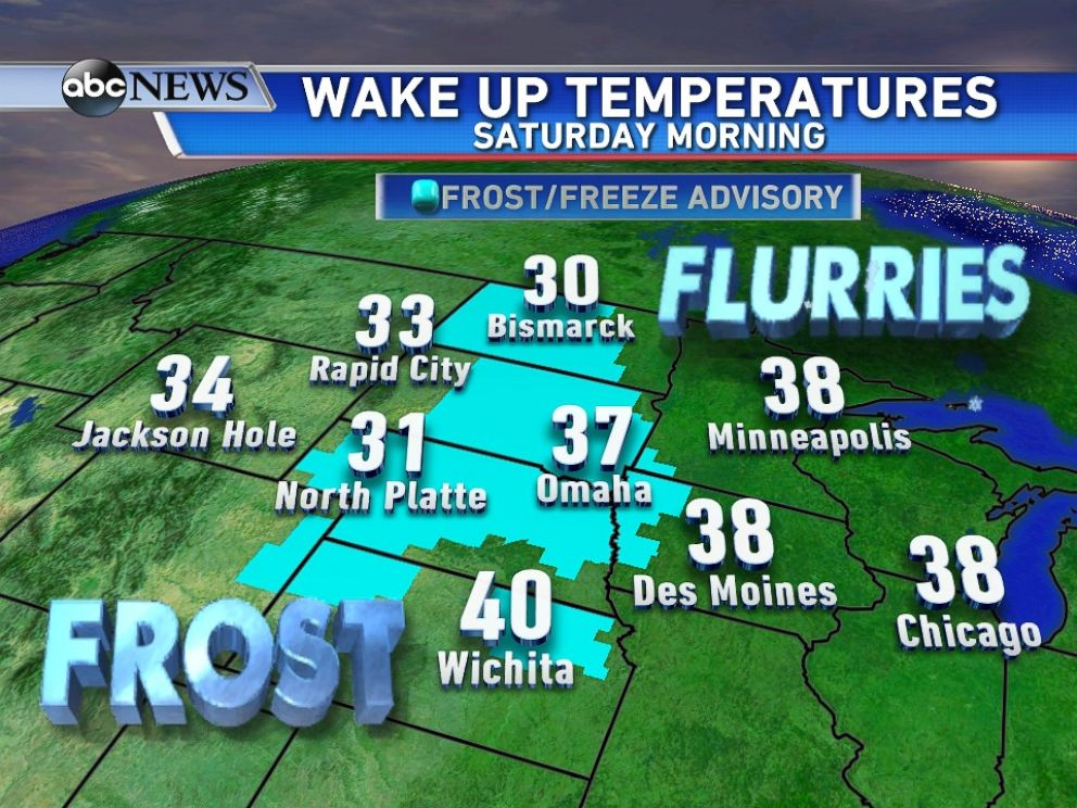 PHOTO: 7 states are under frost and freeze warnings for Saturday morning.