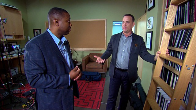 PHOTO: Tom Hanks sits down with military sergeant and aspiring screenwriter Gabriel Posey to share his advice about the entertainment industry.