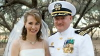 PHOTO Mark Kelly, shown on his wedding day with wife Gabrielle Gifford, opens up about his wife's recovery and the Tucson shooting that injured her and killed six people.