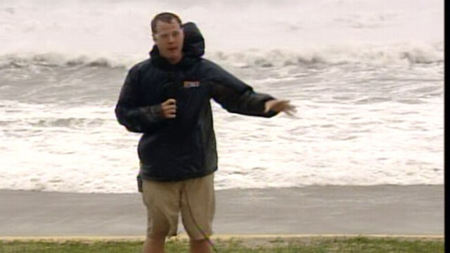 VIDEO: Steve Dorsey reports as Irene wreaks havoc on city beaches.