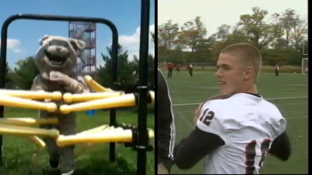PHOTO: Kentucky teen Trent Bauer started the football season as the Paul Laurence Dunbar High School's mascot, but he'll end it as the team's star quarterback.
