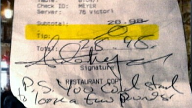 PHOTO: Bartender Stiffed on Tip, Insulted by Customer