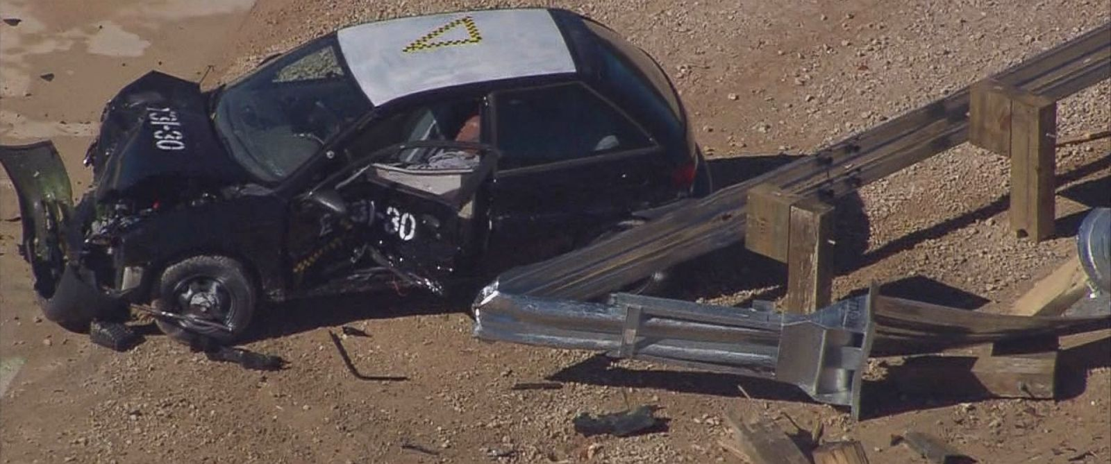 PHOTO: Helicopter footage shows the eighth crash test of the ET-Plus guardrail system.
