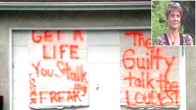 PHOTO: A womans handmade signs targeted her neighbors.