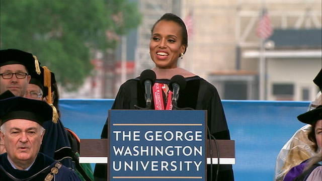 PHOTO: Kerry Washington returns to her alma mater to address graduates at the George Washington Universitys Commencement ceremony on the Nationa