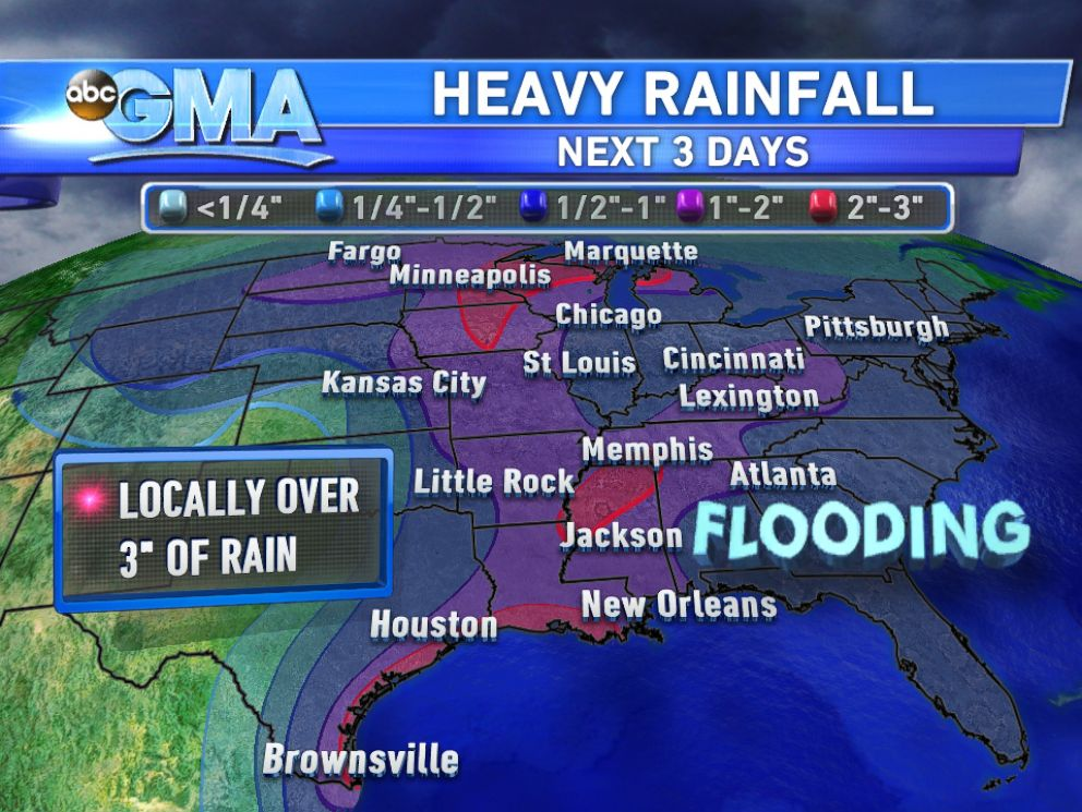 PHOTO: The Eastern U.S. should expect heavy rainfall and flooding over Labor Day weekend.