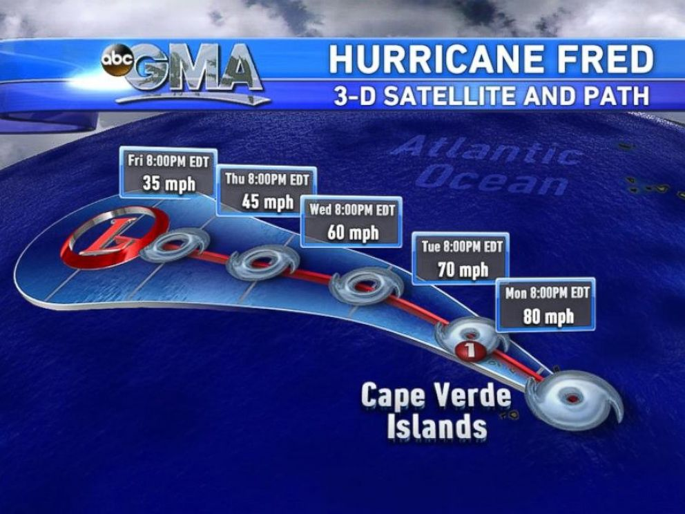 PHOTO: This Good Morning America image shows Hurricane Fred forming near Africas Cape Verde Islands.