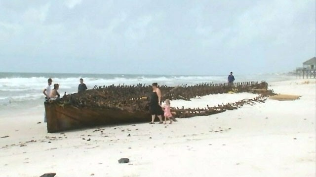 PHOTO: Hurricane Isaac dredged up the remnants of an old ship on an Alabama beach.