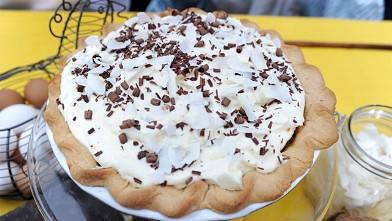 "PHOTO: Jalene's ""Mary & Ethel"" Custard Caramel Pie"