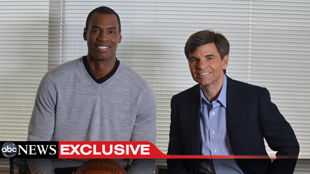 PHOTO: Washington Wizards center Jason Collins talks with ABC News? George Stephanopoulos on April 29, 2013, about his decision to come out as the first openly gay professional athlete in a major American team sport.