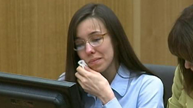 PHOTO: Jodi Arias cried in court in Phoenix, April 23, 2013, when a video played showing Travis Alexander kissing her.