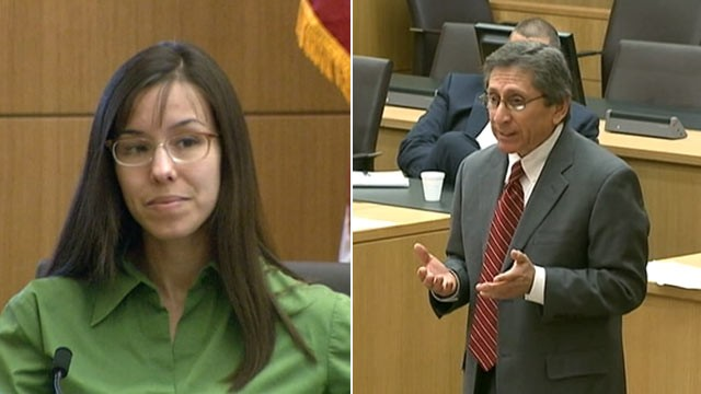 Jodi Arias and prosecutor Juan Martinez in court during Arias' trial ...