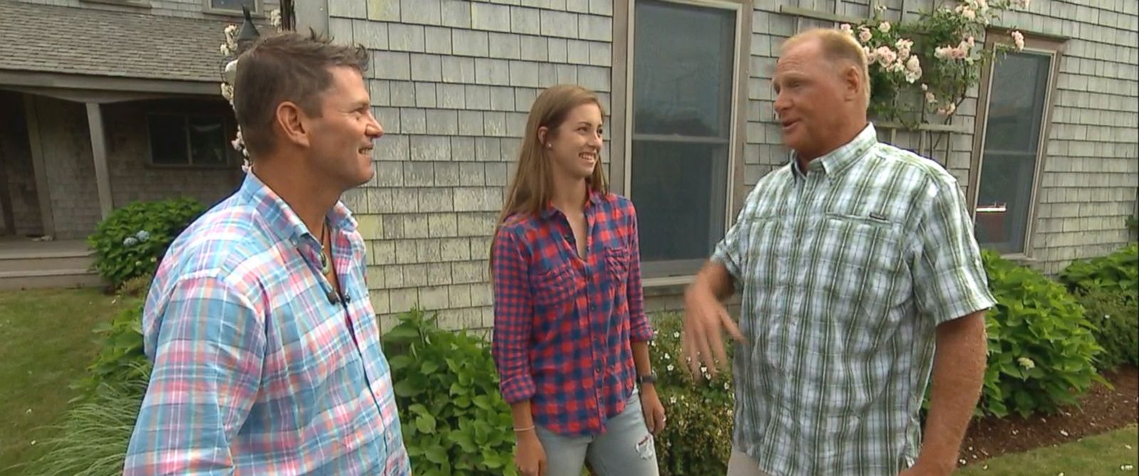 PHOTO: Derrick and Erynn Johns, the father and daughter rescued from a rip current off the Massachusetts coast recently, meet Tommy Vach who helped lifeguards pull them to safety.