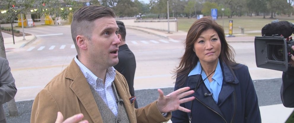 """Nightline"" co-anchor Juju Chang (right) interviews Richard Spencer (left) in a piece for ABC News ""Nightline."""