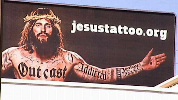 abc kamc jesus tattoos ll 131009 16x9 608 Tattooed Jesus on Texas Billboard Has Residents Talking