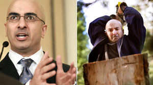 PHOTO As part of his daily regimen, Kashkari chops firewood using fallen trees from his property.