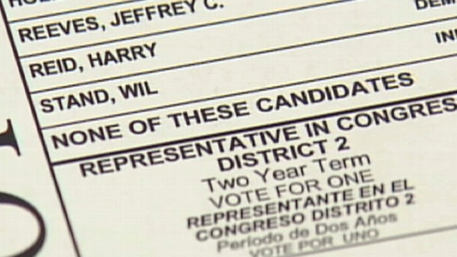 Video: Nevada voter's none of the above ballot choice.