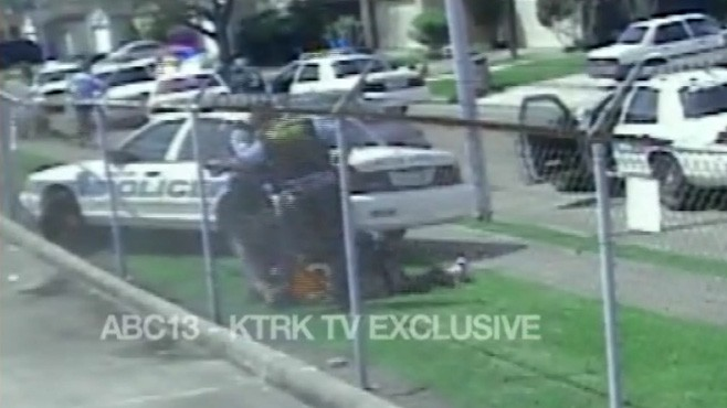 VIDEO: Surveillance video shows Houston police beating teenage burglary suspect.