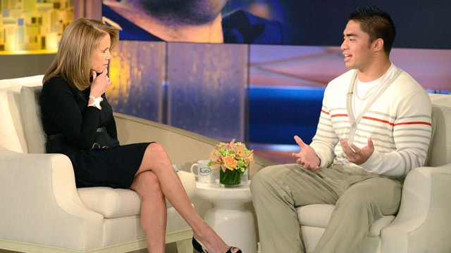 PHOTO: Manti Teo speaks to Katie Couric during an exclusive interview.
