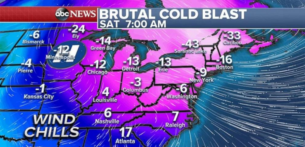 PHOTO: A bitter, brutal cold blast is slamming into the Northeast Saturday.