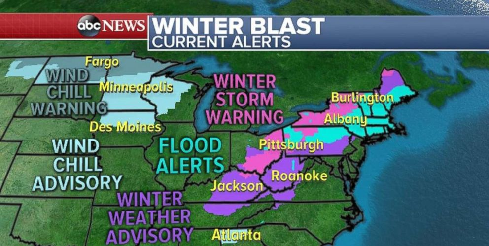 PHOTO: There are wind chill warnings and advisories, winter storm warnings, and flood alerts across the Midwest, Northeast and Great Lakes region.