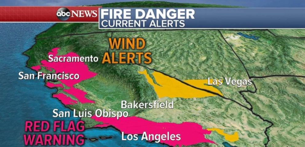 PHOTO: Wind alerts in Southern California do not bode well for firefighters battling the wildfires there.