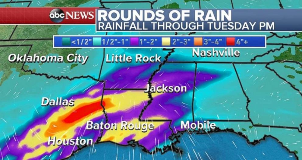 PHOTO: Parts of the Gulf Coast will experience rain over the next few days.