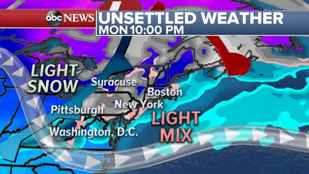 PHOTO: The Northeast can expect unsettled weather on Monday.