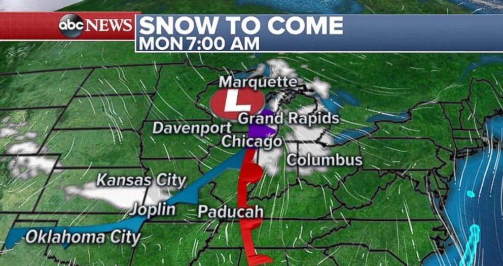 PHOTO: Snow is headed to the Midwest and Great Lakes region.
